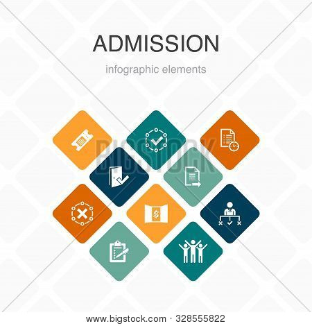 Admission Infographic 10 Option Color Design.ticket, Accepted, Open Enrollment, Application Simple I
