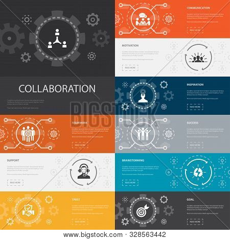 Collaboration Infographic 10 Line Icons Banners. Teamwork, Support, Communication, Motivation Simple