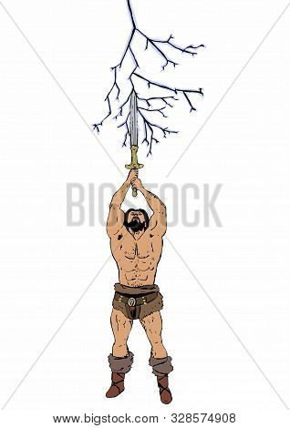 Barbarian Warrior With Sword Evokes The Lightning