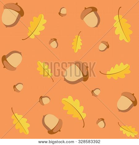 Seamless Pattern With Acorns And Autumn Oak Yellow Leaves. Ideal For Wallpaper, Gift Paper, Pattern