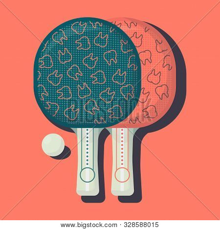 Ping Pong Racket With Ball. Table Tennis Sport Equipment Poster Vector Illustration For Table Tennis