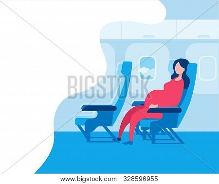 Pregnant Woman Sitting In An Airplane Seat. Vector Illustration In A Flat Style On The Theme Of Trav