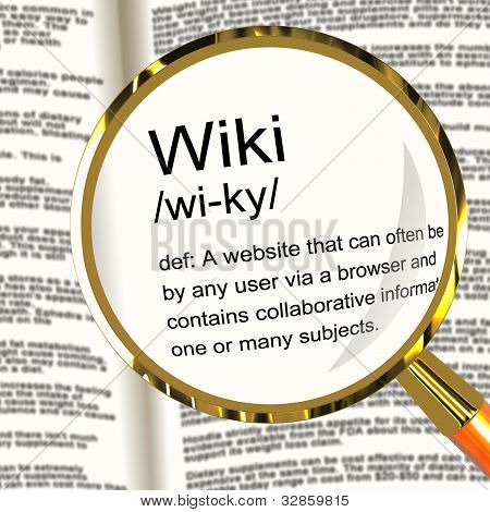 Wiki Definition Magnifier Showing Online Collaborative Community Encyclopedia