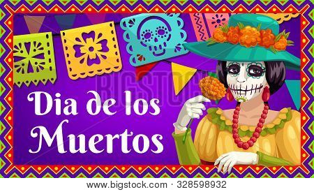 Day Of The Dead Catrina Calavera With Marigold Flower, Dia De Los Muertos Paper Flag Garland And Bun
