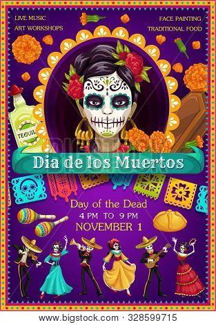 Day Of The Dead Catrina With Dancing Skeletons Vector Design. Mexican Dia De Los Muertos Sugar Skull