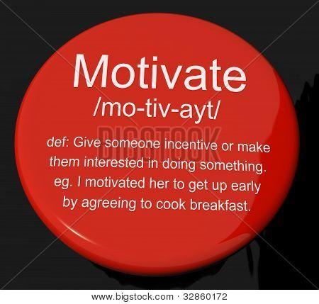 Motivate Definition Button Showing Positive Encouragement Or Inspiration