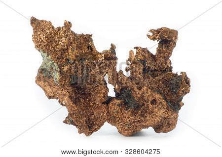 Rough Cooper Mineral From United States Isolated On A Pure White Background