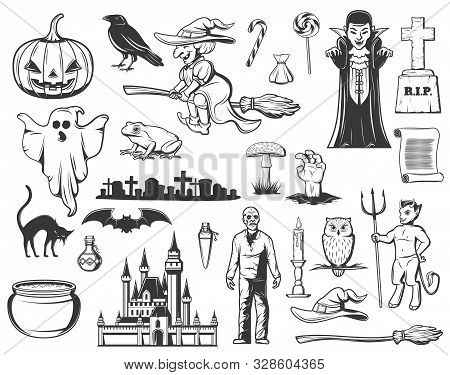 Halloween Sketches With Vector Horror Ghost, Pumpkin And Witch, Dracula Vampire, Bat And Black Cat,