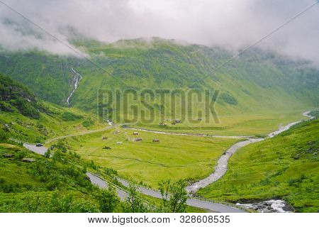 Beautiful Landscape And Scenery View Of Norway, Green Scenery Hills And Mountain In A Cloudy Day. Gr