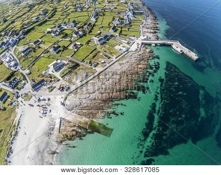 Aerial View Of Beach And Village In Inisheer Island