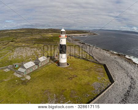 Lighthouse, Rocky Beach And Farms  In Inisheer Island
