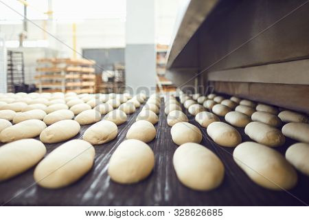 Automatic Bakery Production Line With Bread In Bakery Factory