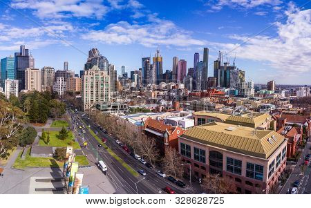 Australia, Melbourne - July 27, 2018: Exhibition Street Building And Melbourne City Skyline With Bea
