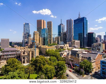 Australia, Melbourne - December 6, 2014: Melbourne Cbd And City Skyline Viewed From The Eastern Side