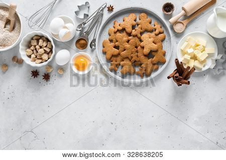 Christmas, X-mas, Noel Or Xmas Baking Culinary Baking Background, Baking Recipe. Ingredients For Coo