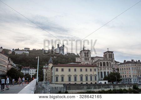 Lyon, France - July 17, 2019: Basilique Notre Dame De Fourviere Basilica Church And Cathedrale Saint