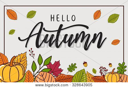 Autumn Sales Banner Background With Dry Leaf Decoration. Autumn Ad Leaves Flyer Label. Autumn Design