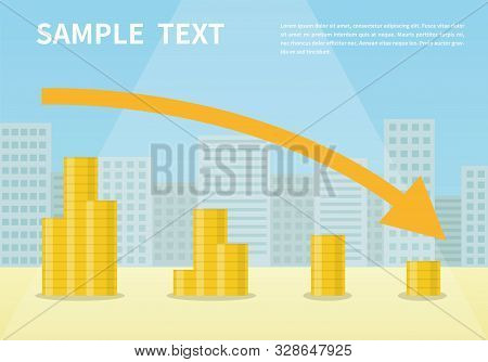 Money Loss Vector Illustration, Flat Cartoon Cash With Down Arrow Stocks Graph, Concept Of Financial