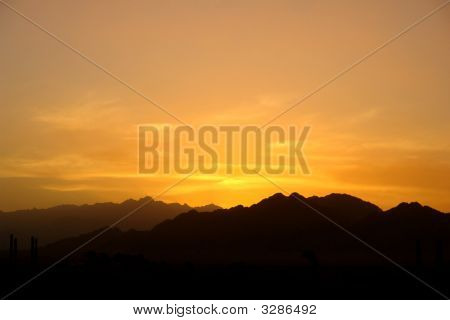 Early Sunset In The African Mountains