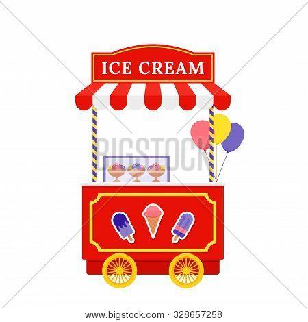 Ice Cream Cart. Vector. Icecream Street Trolley. Vintage Kiosk In Amusement Park. Circus Carnival St