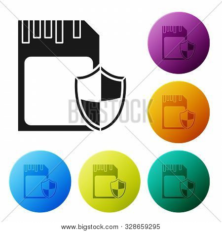 Black SD card and shield icon isolated on white background. Memory card. Adapter icon. Security, safety, protection, privacy concept. Set icons colorful circle buttons. Vector Illustration poster