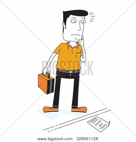 Illustration Of A Man Looking For A Job