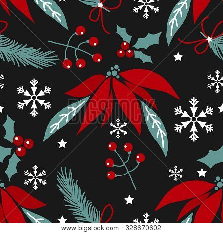 Christmas Holiday Season Seamless Pattern Of Christmas Flowers, Pine Branch With Ribbon, Holly Berri