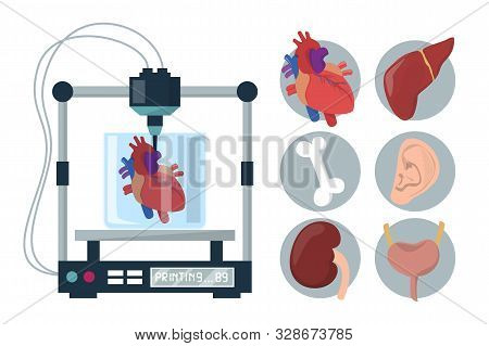 3d Bioprinting Vector Isolated. Medical Equipment For Organ Reconstruction. Replicate Device In Heal