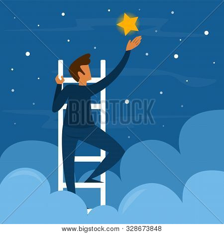 Businessman On Stairs Reaching The Golden Star. Success