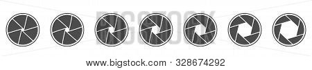 Camera Lens Diaphragm Icons. Camera Shutter Icons, Vector Illustration