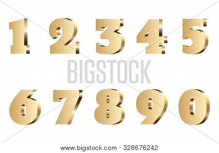 3d Gold Number Set. Isolated Golden Metal Text Font. 1,2,3,4,5,6,7,8,9 Typography Symbol On Backgrou