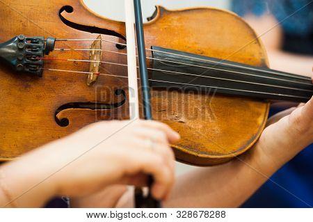 Violinist Playing Violin Close Up