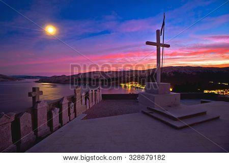 Baska On Krk Island. Evening View Of Bay From Graveyard Above Town Of Baska. Island Of Krk In Croati