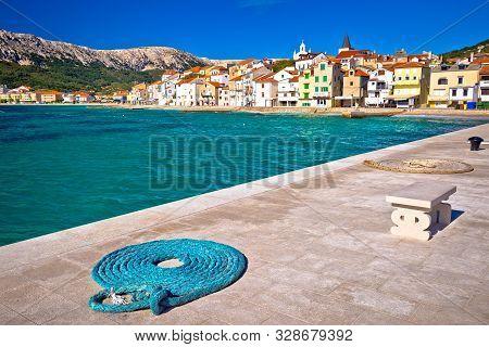 Baska. Island Of Krk With Waves Breaking On Coast In Town Of Baska, Kvarner Bay Of Croatia