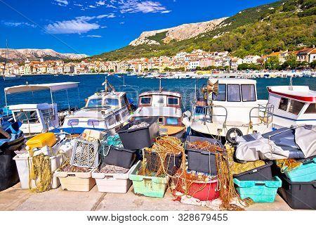 Baska. View Of Fishermen Village Of Baska From Breakwater Harbor, Island Of Krk, Croatia