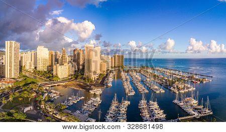 USA, Hawaii - August 30, 2018: Aerial view of the Ala Wai Boat Harbor in Honolulu