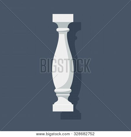 White Baluster With Shadow. Architectural Detail Or A Piece Of Furniture. Vector Eps10