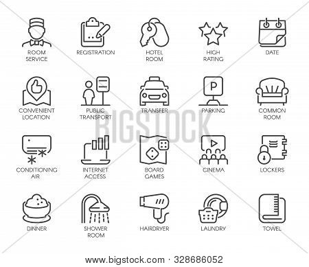 Set Of 20 Line Icons Of Room Service. Contour Labels For Hotel Inn, Hostels, Apartment, Condominium