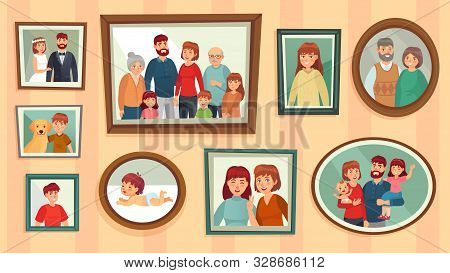 Cartoon Family Photo Frames. Happy People Portraits In Wall Picture Frames, Family Portrait Photos.