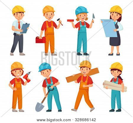 Kids Builders. Little Boys And Girls In Builder Work Suit, Children In Construction Helmet And Engin