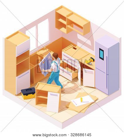 poster of Vector isometric new kitchen furniture set assembling and installation. Handyman or carpenter working on kitchen cabinets and drawers. Man installing kitchen sink
