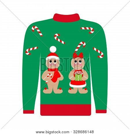 Christmas Ugly Sweater With Gingerbread Man Illustration