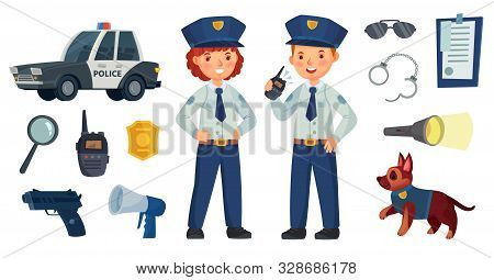 Cartoon Police Kids. Little Boy And Girl In Patrol Suits, Police Car And Dog. Gun, Radio And Police