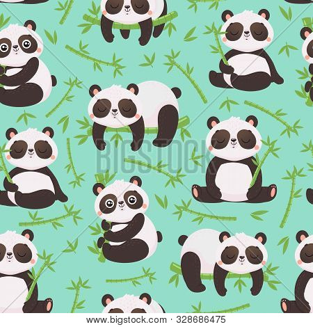 Panda And Bamboo Seamless Pattern. Cute Pandas Animals, Wild Bamboo Forest Bear And Sleeping Baby Pa