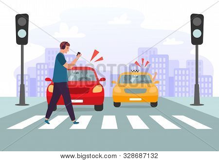 Crosswalk Accident. Pedestrian With Smartphone And Headphones Crossing Road On Red Traffic Lights, R
