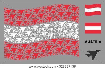 Waving Austria State Flag. Vector Airplane Intercepter Elements Are Organized Into Mosaic Austria Fl
