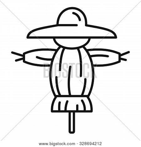 Funny Scarecrow Icon. Outline Funny Scarecrow Vector Icon For Web Design Isolated On White Backgroun