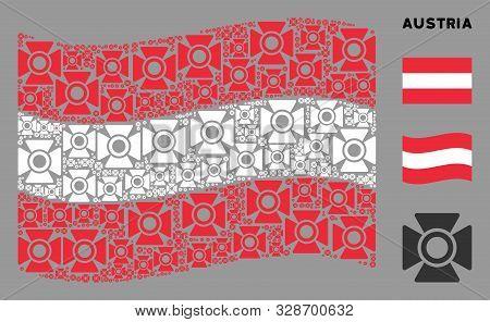 Waving Austria Flag. Vector Searchlight Icons Are Grouped Into Conceptual Austria Flag Collage. Patr