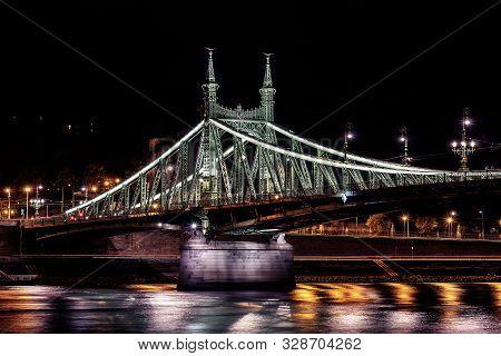 Liberty Bridge Or Freedom Bridge In Budapest In Hungary.