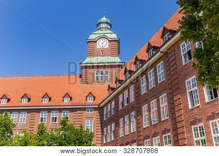 Historic Building Of The Old Gymnasium School In Flensburg, Germany